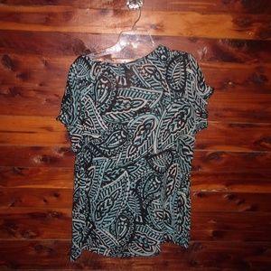 Lane Bryant Tops - Lane Bryant plus size aqua & black print top